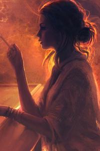 1080x2280 Girl Smoking Artwork