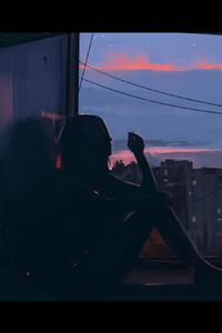 800x1280 Girl Smoking Near Window Artwork