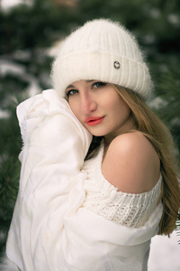 1242x2688 Girl Snow Winter White Clothing 4k