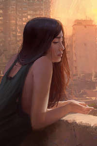 480x800 Girl Standing Balcony Bangkok Vibes 4k
