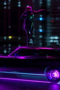 Girl Standing On Car Neon City