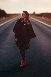 240x320 Girl Standing On Road 5k