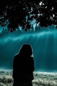 240x320 Girl Standing Under Tree