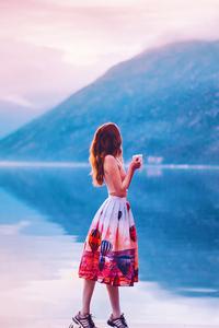 Girl Standing With Coffee Mug Pier Side