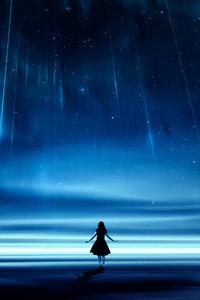 1080x2160 Girl Starry Night Dreamscape