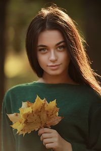 480x800 Girl Sweater Autumn Flowers 4k