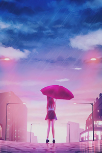 1080x2280 Girl Umbrella Rain 4k