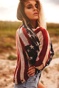 2160x3840 Girl Usa Flag Sweater 4k