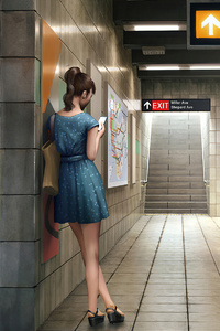 240x320 Girl Using Phone In Train Station 4k