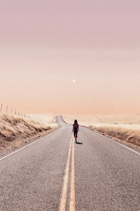 Girl Walking Alone On Desert Road