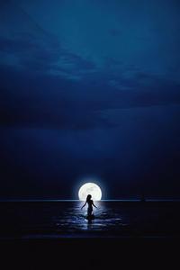 640x1136 Girl Walking Towards Moon In Ocean