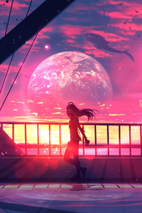 Girl Walking With Headphones Anime Digital Art