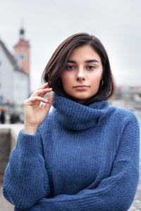 Girl Wearing Blue Turtlenecks Outdoors