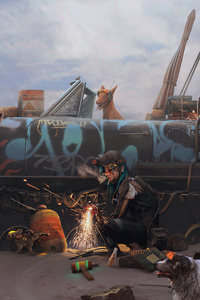Girl Welding Tank With Dogs