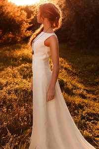 1440x2560 Girl White Dress Sunbeam Forest