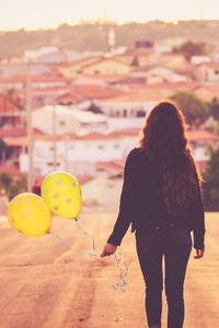 1280x2120 Girl With Balloon Walking Away