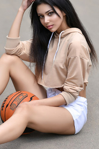 Girl With Basketball In Court 4k