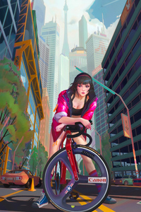 Girl With Bicycle