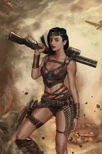 Girl With Big Gun 4k