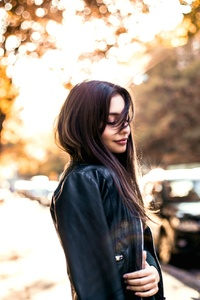240x320 Girl With Black Leather Jacket Outdoors
