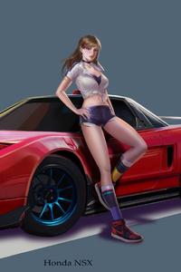 Girl With Car Art