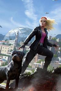 1280x2120 Girl With Dog 4k