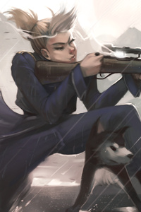Girl With Dog Aiming Fire