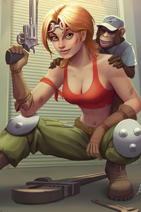 1280x2120 Girl With Gun And Monkey