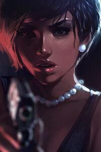 480x854 Girl With Gun Digital Art