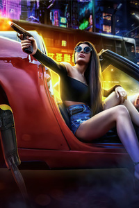 720x1280 Girl With Gun In Car Pointing Gun Scifi 5k