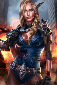 1440x2960 Girl With Gun Killing Zombie