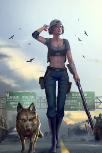 480x800 Girl With Gun Walking Downtown With Dog