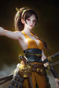 640x960 Girl With Guns And Sword