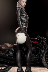 1242x2688 Girl With Harley Davidson