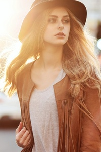 1080x1920 Girl With Hat And Leather Jacket
