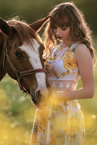 Girl With Horse In Field 4k