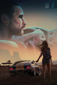 320x568 Girl With Mustang 4k