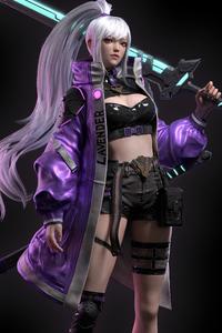 1440x2960 Girl With Neon Sword 4k