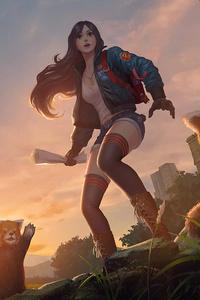 1080x1920 Girl With Pandas