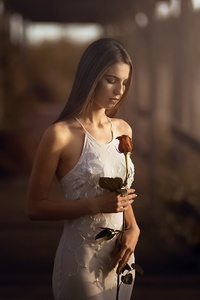 1080x1920 Girl With Rose In Hand