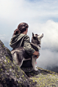 1242x2688 Girl With Siberian Husky