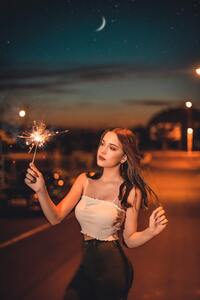 1080x1920 Girl With Sparkle Fireworks