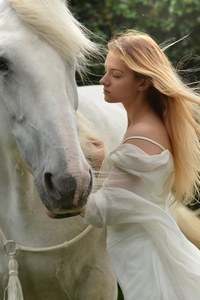 Girl With White Horse 5k