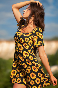 320x568 Girl Yellow Flower Dress Field Outdoor 4k
