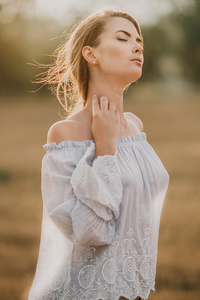 Girls Closed Eyes In Nature 4k