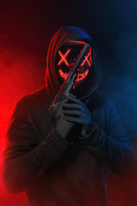 1080x1920 Glowing Mask Eyes With Gun 4k