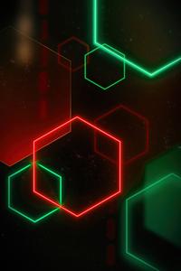 1125x2436 Glowing Shapes 4k