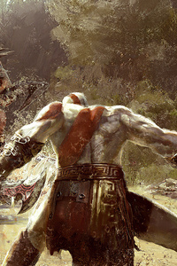 750x1334 God Of War 4 Artistic Painting 4k