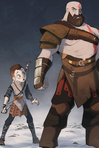 God Of War 4 Cartoon Artwork