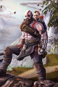 1125x2436 God Of War Atreus Kratos Fan Art